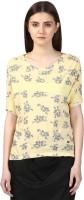 Park Avenue Casual Half Sleeve Printed Women Yellow Top