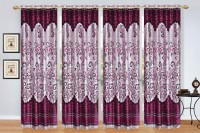 Ville Style 214 cm (7 ft) Polyester Door Curtain (Pack Of 4)(Floral, Wine)