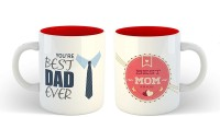iKraft CoffeeMugs Gift for Mom and Dad Two Tone Red You're Best Dad Ever and Best Mom in the World Cup Set Ceramic Mug(350 ml, Pack of 2)