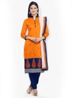 Saara Chanderi Self Design, Embroidered Salwar Suit Dupatta Material(Un-stitched)