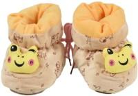 Tiekart Funky Brown Flannel Booties Footwear for Baby Boys and Baby Girls Booties(Toe to Heel Length - 17 cm, Brown)