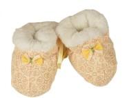 Tiekart Cute Yellow Flannel Booties Footwear for Baby Boys and Baby Girls Booties(Toe to Heel Length - 17 cm, Yellow)