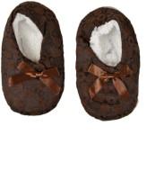 Tiekart Cute Brown Flannel Booties Footwear for Baby Boys and Baby Girls Booties(Toe to Heel Length - 17 cm, Brown)