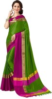 V J Fashion Solid Fashion Cotton Silk Saree(Green)