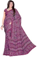 Aaradhya Fashion Printed Bandhani Handloom Poly Crepe Saree(Purple)