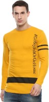 Urbano Fashion Printed Men's Round Neck Yellow T-Shirt