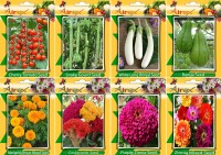 Airex Tomato Cherry, Snake Gourd, White Long Brinjal, Banga, Cockscomb, Purple Zinnia , Kochia and Marigold African Mixed Seed (Pack Of 15 Seed * 8 Per Packet Seed(15 per packet)