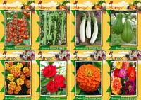 Airex Tomato Cherry, Snake Gourd, White Long Brinjal, Banga, Balsam, Orange Cosmos , Zinnia Mixed and Marigold African Mixed Seed (Pack Of 15 Seed * 8 Per Packet Seed(15 per packet)