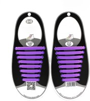 Bolt No Tie Elastic Silicone Shoelaces Shoe Lace PURPLE Shoe Lace(PURPLE Set of 8)