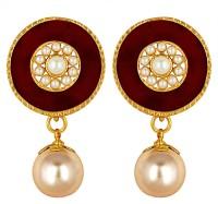Spargz Cute Gold Plated Party Wear Round Shape Earrings Diamond, Pearl Brass Drop Earring