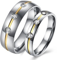 Yellow Chimes 316L Stainless Steel Never Fading Crystal Proposal Couple Rings Stainless Steel Rhodium Plated Ring