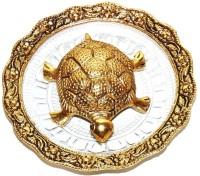 DreamKraft Oxidized Golden Metal Tortoise on Glass Plate For Good Luck Feng shui Gift Item For Vaastu Home Décor Decorative Showpiece  -  14 cm(Glass, Gold)