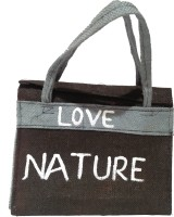 Khadi Eco Basket Unisex Trendy Jute Hand Bag Multipurpose Bag(White, Black, 11 inch)