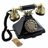 View GPO Retro Duke Push-Button Telephone | Pull-out-note-pad tray Corded Landline Phone(Black) Home Appliances Price Online(GPO Retro)
