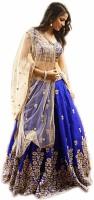 shiv fashion Embroidered, Embellished Semi Stitched Lehenga, Choli and Dupatta Set(Blue, Gold)