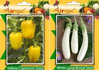 Airex Capsicum Yellow and White Long Brinjal Vegetables Seed (Pack Of 25 Seed * 2 Per Packet) Seed(25 per packet)