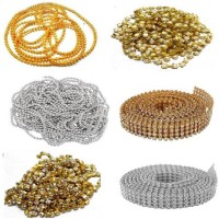 puffy Pearl chain stone chain golden ball chain stone lace golden & silver combo