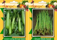 Airex Green Long Brinjal and Drum Stick Vegetables Seed + Humic Acid Fertilizer (For Growth of All Plant and Better Responce) 15 gm Humic Acid + Pack Of 30 Seed Green Long Brinjal + 10 Drum Stick Seed(30 per packet)