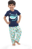 Nite Flite Kids Nightwear Boys Printed Cotton(Dark Blue Pack of 1)