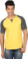 Poshuis Solid Men Round or Crew Black, Yellow T-Shirt