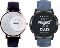 MAPA STYLE Attractive Stylish Black Mxre & Lorem Genium Blue Leather Strap 2 Combo Girls & Boys Analog Watch MPSTYLE 079 Hybrid Watch  - For Men & Women