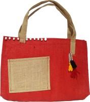 Khadi Eco Basket Ethinic Unisex Jute Bag Multipurpose Bag(Red, 29 L)