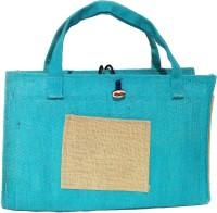 Khadi Eco Basket Modish Designer Jute Bag Multipurpose Bag(Light Blue, 25 L)