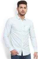 Highlander Men's Striped Casual White, Blue Shirt