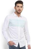 Highlander Men's Striped Casual White Shirt