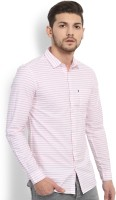 Highlander Men's Striped Casual White, Pink Shirt