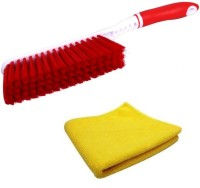 De-Ultimate Combo Of Carpet / Car Seat / Mats / Bed Cleaning Hard & Long Bristles And Car Bike Home Office Multi-purpose Super Clean Polish Towel Wet and Dry Microfiber Cleaning Cloth Cleaning Brush