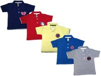 Manzon Boy's & Girl's Solid Cotton T Shirt(Multicolor, Pack of 5)