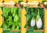 Airex Coriander and White Round Brinjal Vegetables Seed + Humic Acid Fertilizer (For Growth of All Plant and Better Responce) 15 gm Humic Acid + Pack Of 30 Seed Coriander + 30 White Round Brinjal Seed(30 per packet)
