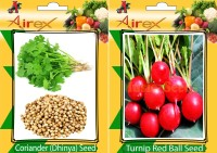 Airex Coriander and Turnip Red Ball Vegetables Seed + Humic Acid Fertilizer (For Growth of All Plant and Better Responce) 15 gm Humic Acid + Pack Of 30 Seed Coriander + 30 Turnip Red Ball Seed(30 per packet)