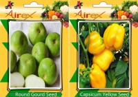 Airex Round Gourd and Capsicum Yellow Vegetables Seed + Humic Acid Fertilizer (For Growth of All Plant and Better Responce) 15 gm Humic Acid + Pack Of 30 Seed Round Gourd + 30 Capsicum Yellow Seed(30 per packet)