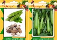 Airex Bitter Gourd, Green Long Brinjal Seed(15 per packet)