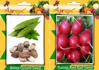 Airex Bitter Gourd and Turnip Red Ball Vegetables Seed + Humic Acid Fertilizer (For Growth of All Plant and Better Responce) 15 gm Humic Acid + Pack Of 30 Seed Bitter Gourd + 30 Turnip Red Ball Seed(30 per packet)