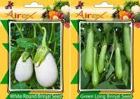 Airex White Round Brinjal, Green Long Brinjal Seed(25 per packet)