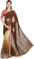 Viva N Diva Embroidered Fashion Georgette Saree(Brown)