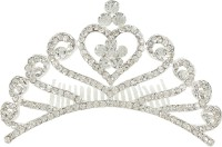Muchmore Fantastic Silver Tone Floral Shape Crown With Crystal Stone Hair Jewellery Hair Clip(White) - Price 399 80 % Off