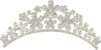 Muchmore Floral Shape Silver Tone Crown With Crystal Stone Hair Jewellery Hair Clip(White) - Price 349 80 % Off