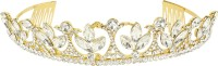 Muchmore Ethnic Gold Tone Crown With CZ Stone Hair Jewellery Hair Clip(White) - Price 599 80 % Off