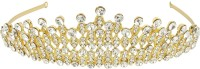 Muchmore Trendy Gold Palted Crown With Crytsal Stone Hair Jewellery Hair Clip(White) - Price 1099 80 % Off