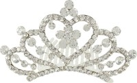 Muchmore Classic Silver Plated Crown With Crystal Stone Hair Jewellery Hair Clip(White) - Price 249 80 % Off