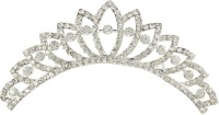 Muchmore Amazing Silver Tone Crown With Crystal Stone Hair Jewellery Hair Clip(White) - Price 399 80 % Off