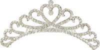 Muchmore Marvellous Silver Tone Crown With Crystal Stone Hair Jewellery Hair Clip(White) - Price 399 80 % Off