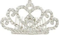 Muchmore Designer Silver Tone Crown With Crystal Stone Hair Jewellery Hair Clip(White) - Price 249 80 % Off