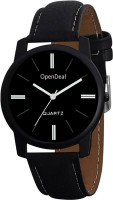 OpenDeal Black Dial Leather Analogue Watch For Men & Boys Watch - For Boys