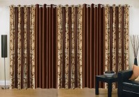 Ville Style 214 cm (7 ft) Polyester Door Curtain (Pack Of 5)(Abstract, Brown)