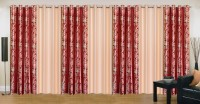 Ville Style 275 cm (9 ft) Polyester Long Door Curtain (Pack Of 7)(Abstract, Maroon, Cream)